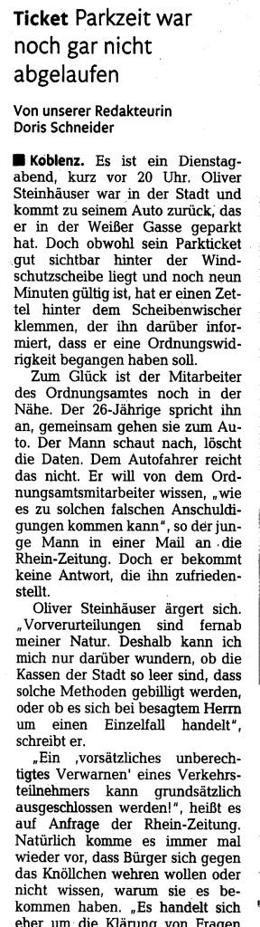 Oliver Steinhaeuser_Buch und Medienblog_Rhein Zeitung Koblenz